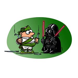 """""""Danzante Dar Vader verde"""" Camiseta modelo Chico"""